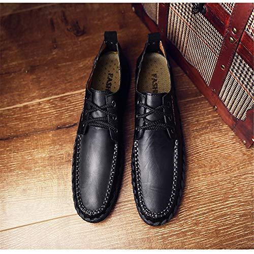 U uomo Heand pelle 39 tonde tip Dimensione EU vera Stringate Nero Colore mano a Qiusa Fashioni fatte Scarpe Nero da in S8HqSzvxY