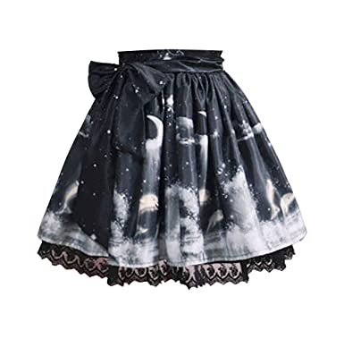 13dcec7059 Nite closet Lolita Skirt Black White for Women Sweet Flared Knee Length  (Black) at Amazon Women's Clothing store: