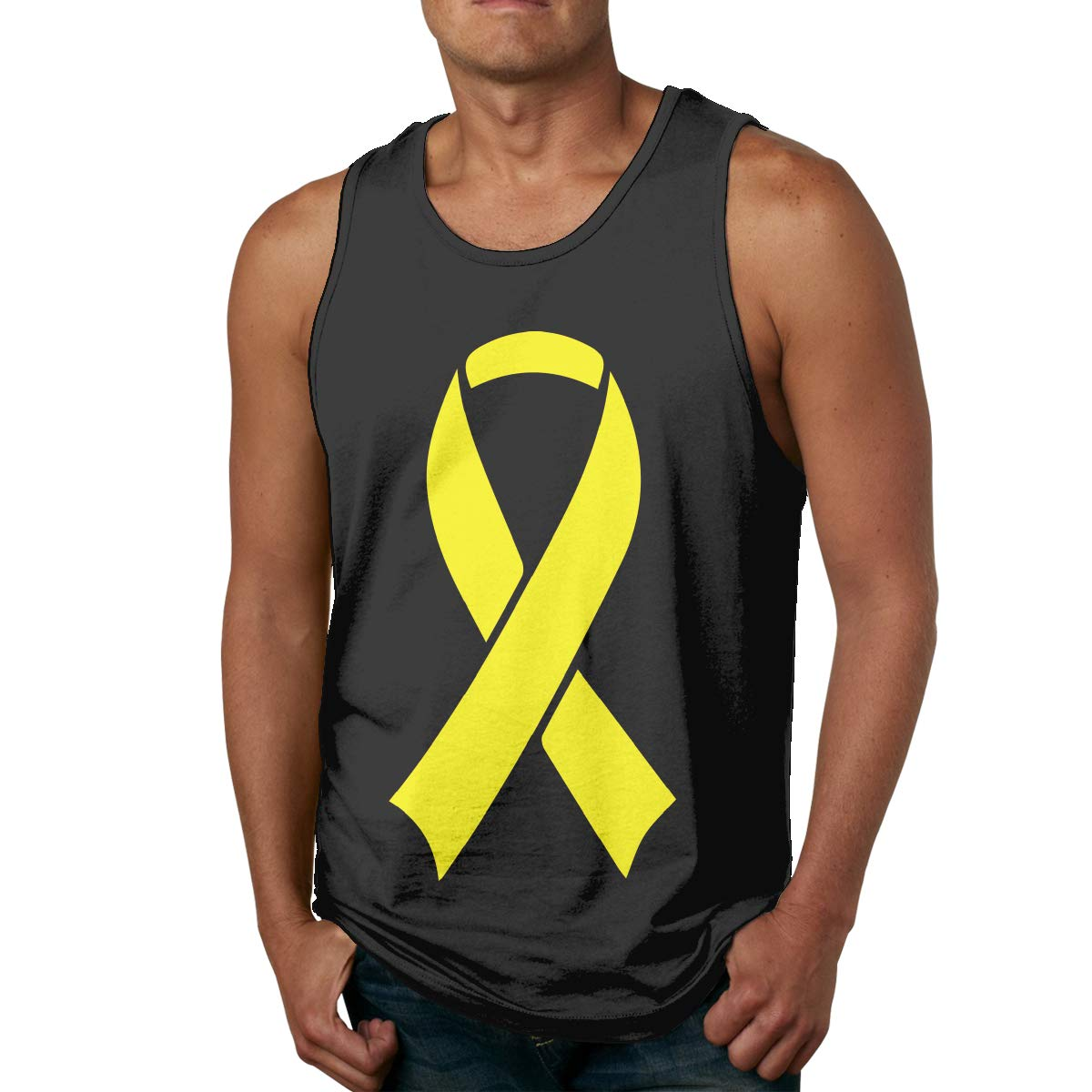 Mens Tank Top Summer Sarcoma Bone Cancer Awareness Ribbon Cotton Blouse