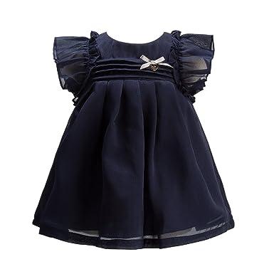 b920459a7f41 mubenshang 3 to 6 Months Summer Dress Blue Ruffle Dress Newborn Dress  Elegant Dress Baby Toddler