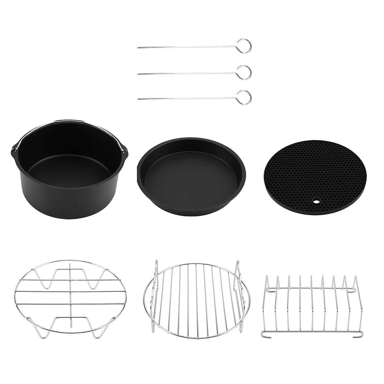 Fryer Accessories Set 6 in 1 Multifunctional Air Fryer Accessories Set Kit Parts Metal Holder Skewer Rack Cake Barrel