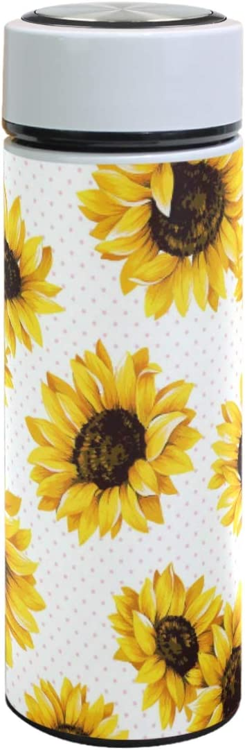 Sunflower Pattern Vacuum Insulated Stainless Steel Water Bottle, Floral White Double Wall Thermos Coffee Cups Sports Travel Hiking Outdoor Mugs for Hot & Cold Drinks