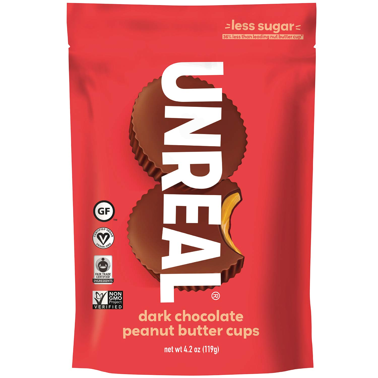 UNREAL Dark Chocolate Peanut Butter Cups | Vegan, Gluten Free, Less Sugar | 3 Bags by UNREAL