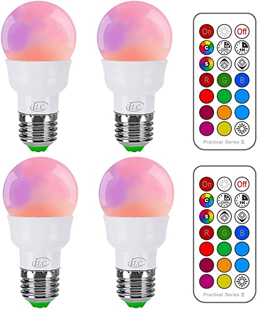 iLC Bombillas Colores RGBW LED Bombilla Cambio de Color 5W E27 ...