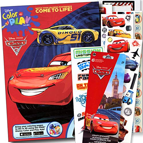 Disney Cars Coloring Book with Disney Cars Stickers - Lightening McQueen ()