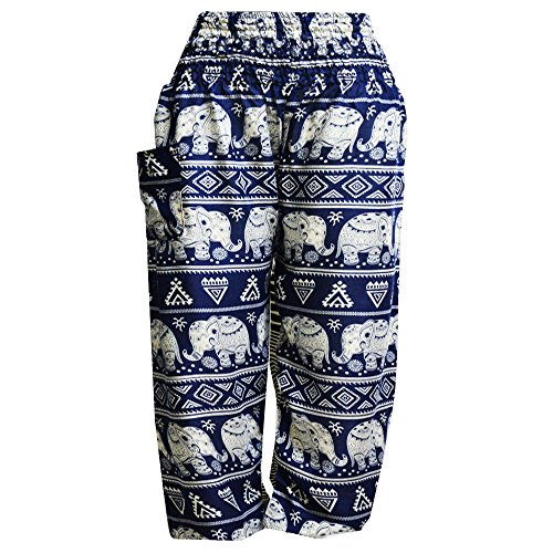 Blue Mujer Boho bangkok 1 Pantaloni Mr Dark Elástica Elephant Harem Cintura Fwfa5x1xvq