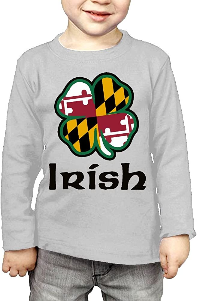CERTONGCXTS Baby Boys Kids Maryland Flag Shamrock Irish-1 ComfortSoft Long Sleeve T-Shirt