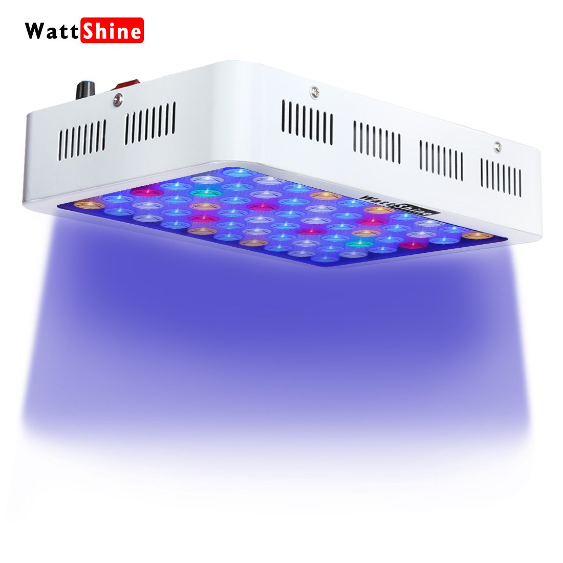 LED Aquarium Light Dimmable 180W Full Spectrum for Coral Reef Grow, Plants Fish Tank Aquarium Decorations Include White & Blue