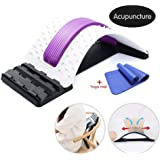 Pawaca Back Stretcher Magnetic Therapy,Acupuncture Lumbar Back Pain Relief Device,Adjustable Lumbar Support Device Massager Posture Corrector with Yoga Mat,Lumbar Support for Office Chair