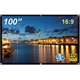 100 inch Foldable Projection Screen, Anti-Crease HD Projector Glass Fiber Screen for Home Theater Office Business…