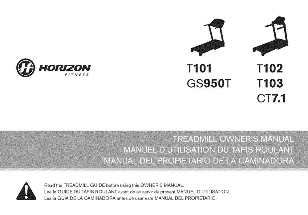 Horizon 1000114499 Treadmill Owner's Manual Genuine Original Equipment Manufacturer (OEM) Part for Horizon