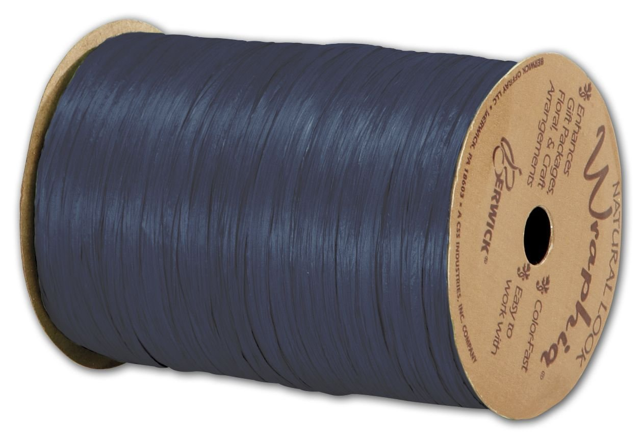 Solid Raffia - Matte Wraphia Navy Ribbon, 1/4'' x 100 Yds (3/pack) - BOWS-74900-62 by Miller Supply Inc.