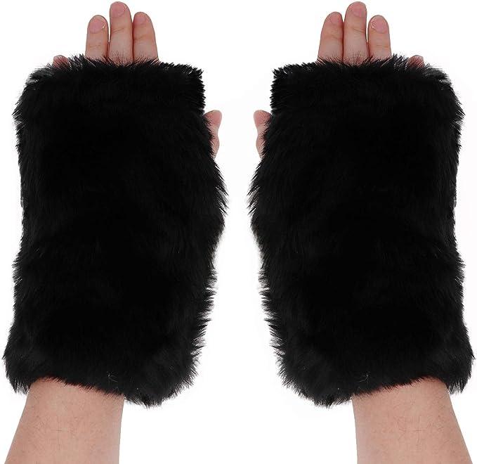 Women Gloves Faux Fur Hand Wrist Warmer Fingerless Half Cuff Winter Gloves CO