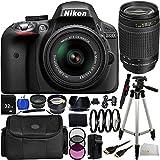 Nikon D3300 DSLR Camera Black (24.2MP) w/18-55mm VR II - International Version (No Warranty) + 70-300mm f/4-5.6G Lens + 19PC Bundle 32GB Accessory Kit