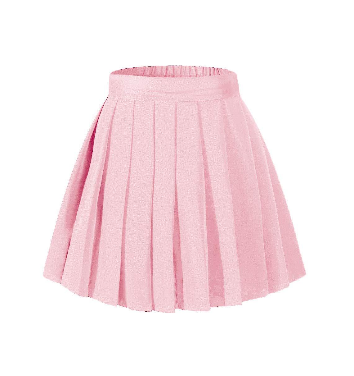 Women's A Line Mini Street Skirt Skater Pleated Full Skirts Pink,XL by Beautifulfashionlife