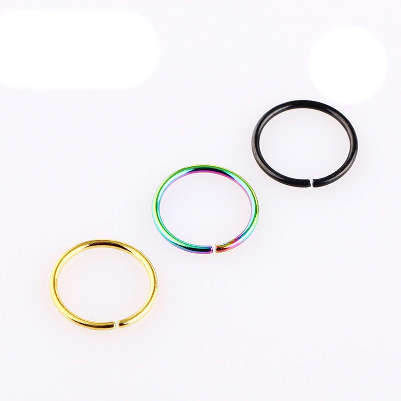 ihuoshang 3 Pcs Steel Simple Hoop Nose Rings Piercing Fake Septum Ring Helix Piercing Orbital Body Jewelry