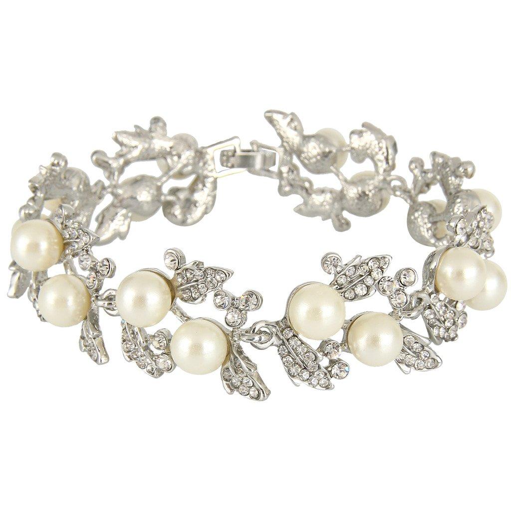 Ever Faith Bridal Silver-Tone Flower Leaf Clear Austrian Crystal Bracelet N01549-1
