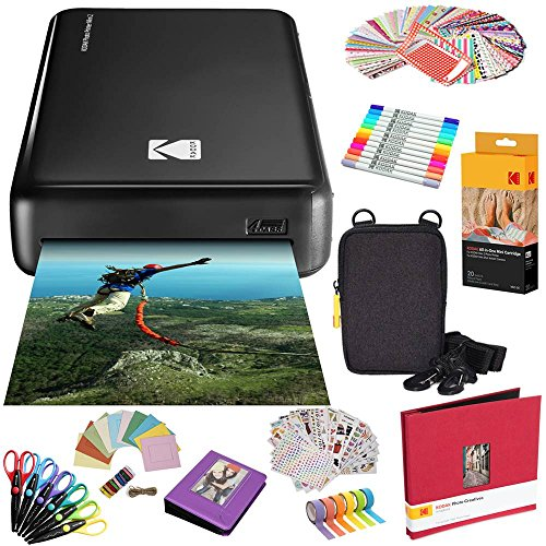 Kodak Mini2 Instant Photo Printer (Black) All-in-Bundle + Paper (20 Sheets) + Deluxe Case + Photo Album + 7 Unique Sticker Sets + Markers + Scissors + Border Stickers and So Much More