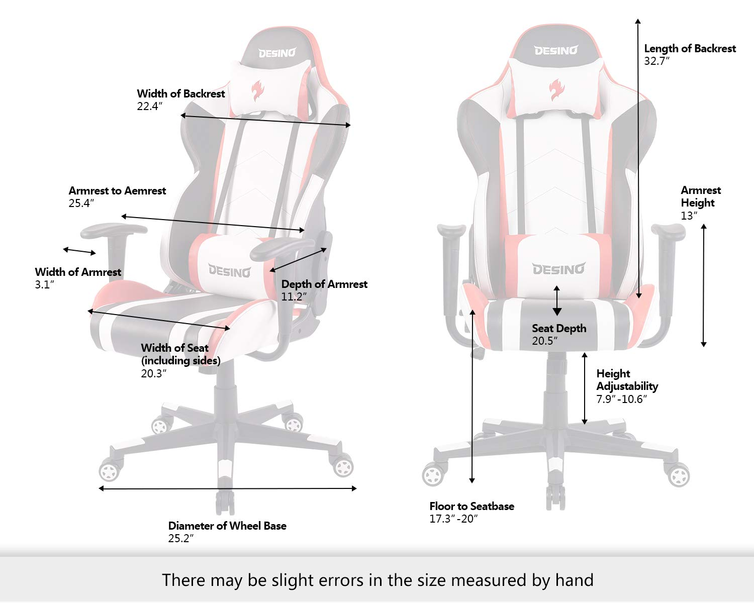 Black DESINO Gaming Chair Racing Style Home /& Office Ergonomic Swivel Rolling Computer Chair with Headrest and Adjustable Lumbar Support