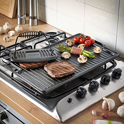 VonShef Black Pre-Seasoned Cast Iron Reversible Griddle Plate & Meat/Bacon Press18 x 10 Inches by VonShef (Image #1)
