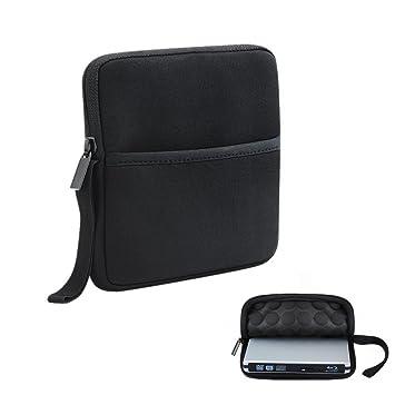 TopElek Funda protectora y bolsa de neopreno para reproductor/grabador externo CD/DVD/Blu-Ray Case /negro y almacenamiento para Apple SuperDrive, ...