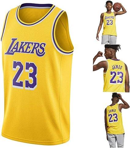 Un Nuovo Tessuto Ricamato Stile di Abbigliamento Sportivo all Star Game 2019 Basket Canotta Maglia Jersey Los Angeles Lakers #23 City Edition L Lalagofe Lebron James Nero
