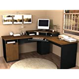 Corner Work Station in Sand Granite & Charcoal (Tuscany Brown & Black)