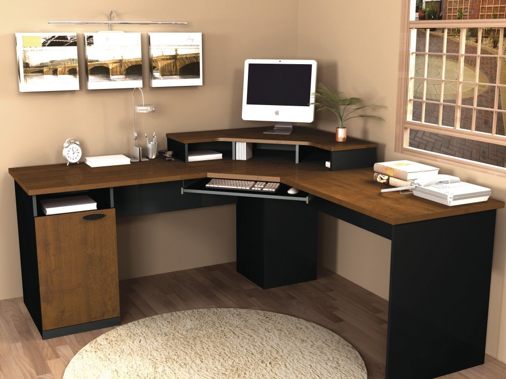 amazoncom bestar hampton wood home office corner computer desk in tuscany brown office desks kitchen dining buy shape home office