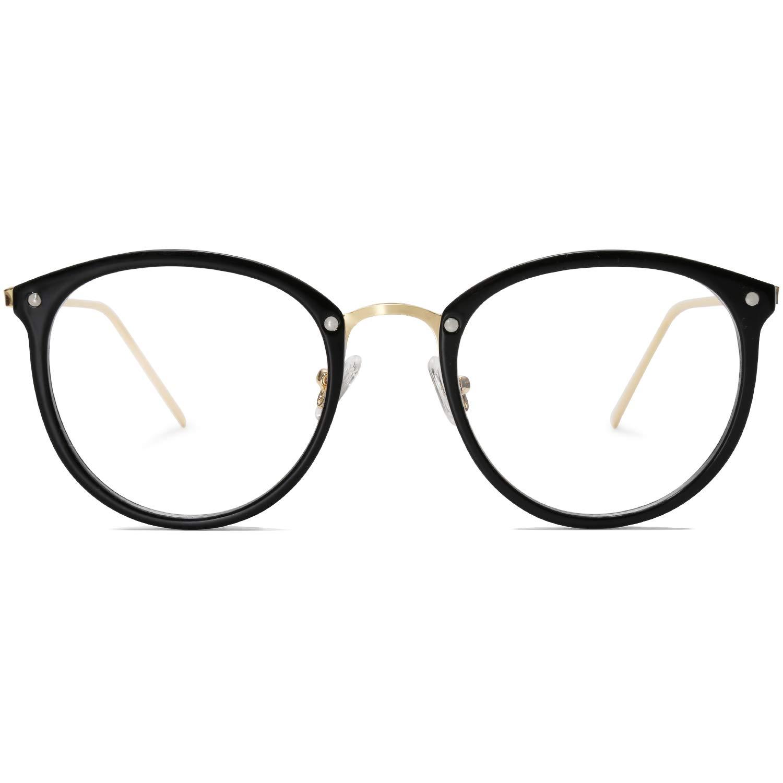 Amomoma Round Non-Prescription Eyeglasses Clear Lens Glasses Eyewear Frame A5001