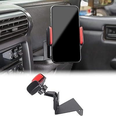 JeCar Multi-Functional Phone Holder Radio Holder Walkie Talkie Mount Bracket, 2 in 1 Bolt-on Stand Bracket for 1997-2006 Jeep Wrangler TJ, Red: Automotive