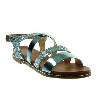 c6c7710caaa014 Angkorly - Chaussure Mode Sandale lanière Cheville Femme Multi-Bride Peau  de Serpent Brillant Talon