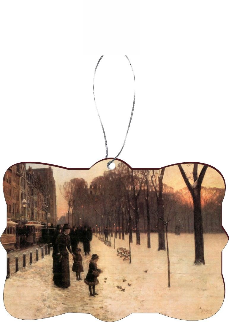 Rikki Knight RKWS-SQORN-2956 Christmas Tree Ornament / Car Rear View Mirror Hanger Childe Hassam Art Boston in Everyday Twilight Design