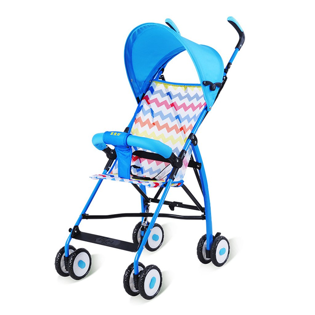 ストローラ傘ウルトラライトポータブルベビーカー折りたたみトロリー(青)(赤)66 * 46 * 100cm ( Color : Blue ) B07BT5W33T