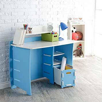 Amazon legare 43 in desk with shelf and file cart blue and desk with shelf and file cart blue and white publicscrutiny Choice Image
