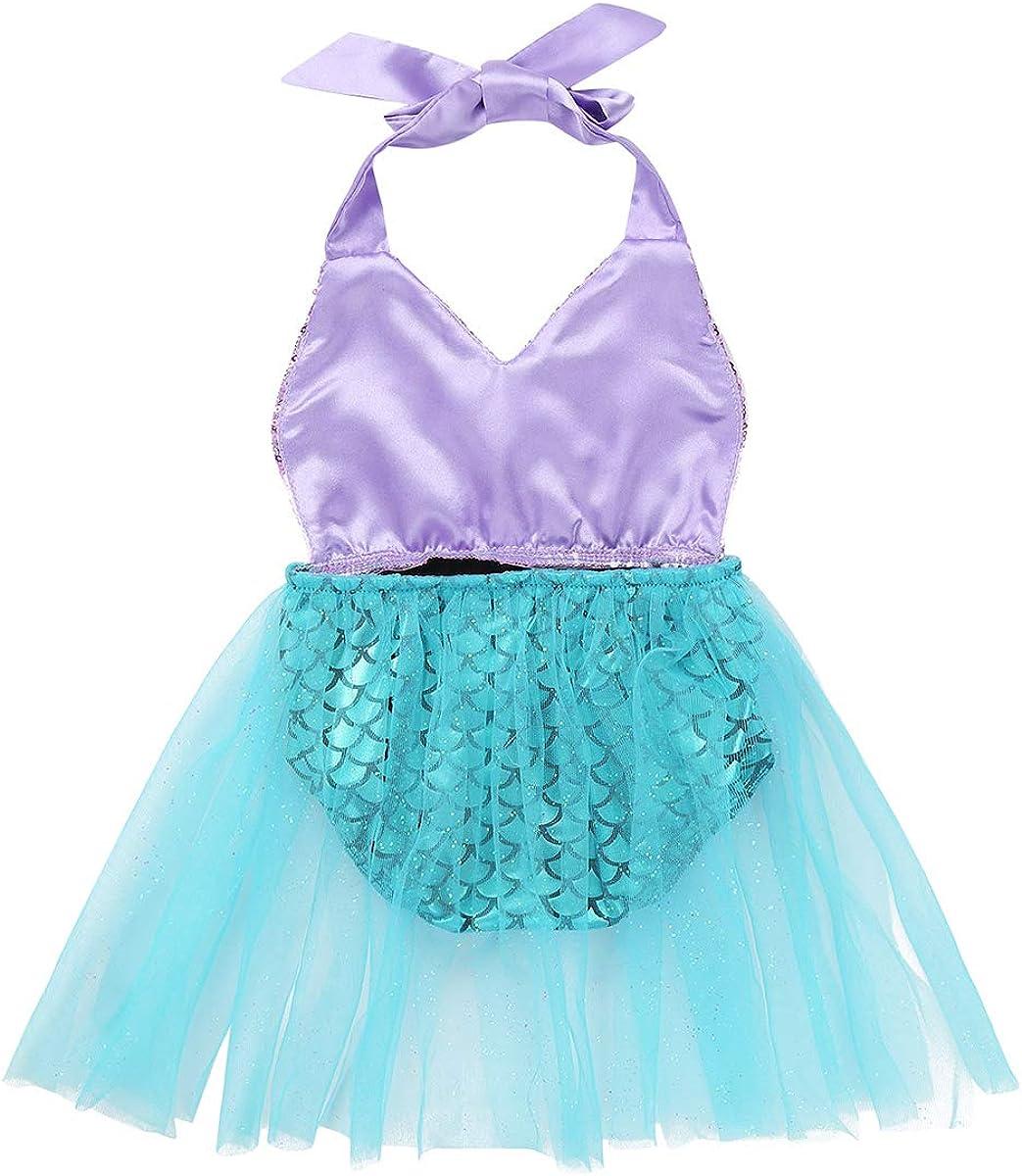 easyforever Infant Baby Girls Mermaid Swimsuit Sequined Halter Fish Scales Printed Cosplay Costume Beach Wear