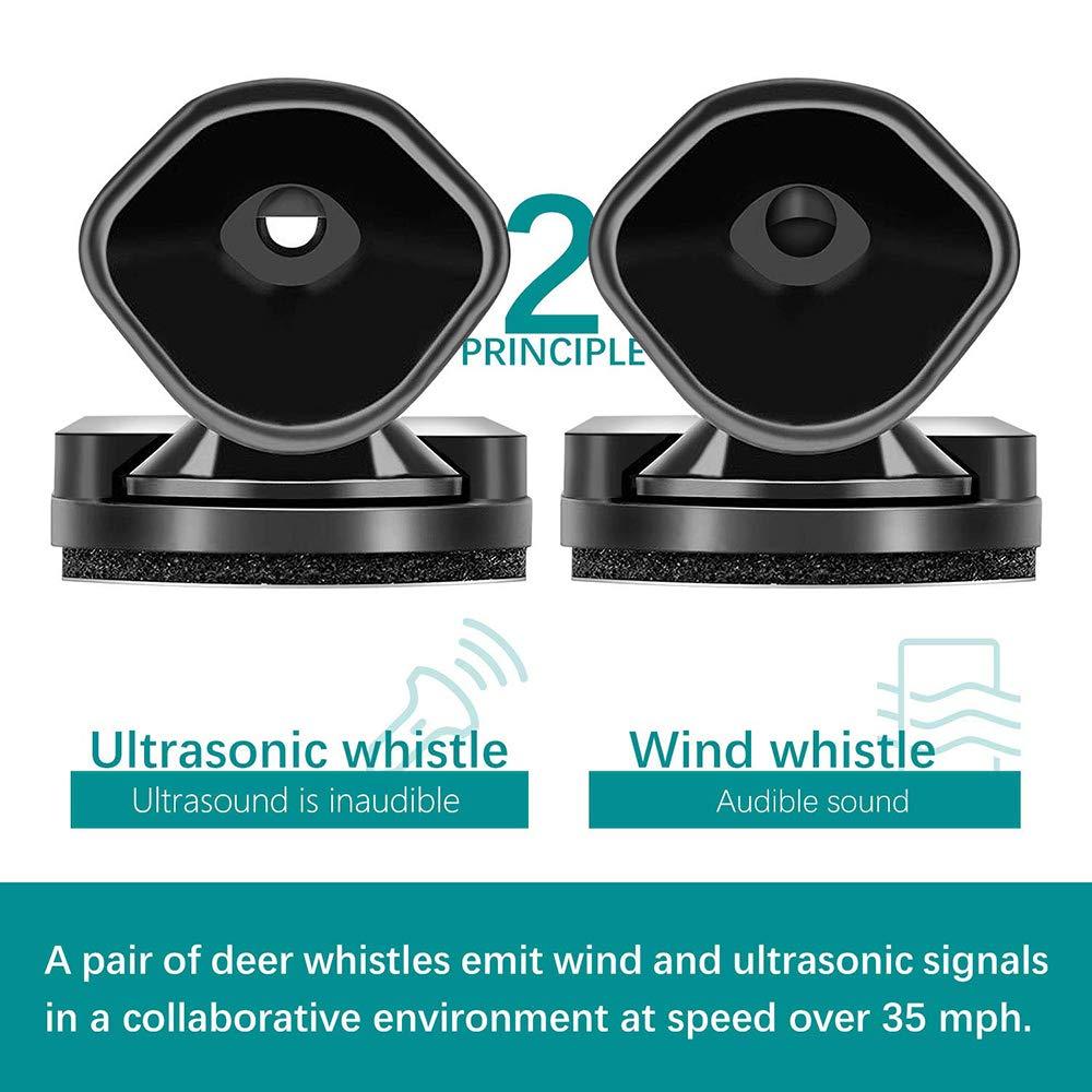 Lipctine 4 Pcs Deer Alert Whistle for Vehicles Black Ultrasonic Wildlife Warning for Auto Motorcycle Truck SUV and ATV Avoids Deer Collisions Car Deer Warning