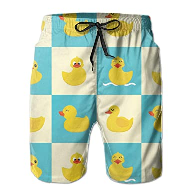 0178219a7d Men's Funny Rubber Duck Swim Trunks 3D Printed Beach Board Shorts with Pockets  Cool Novelty Bathing