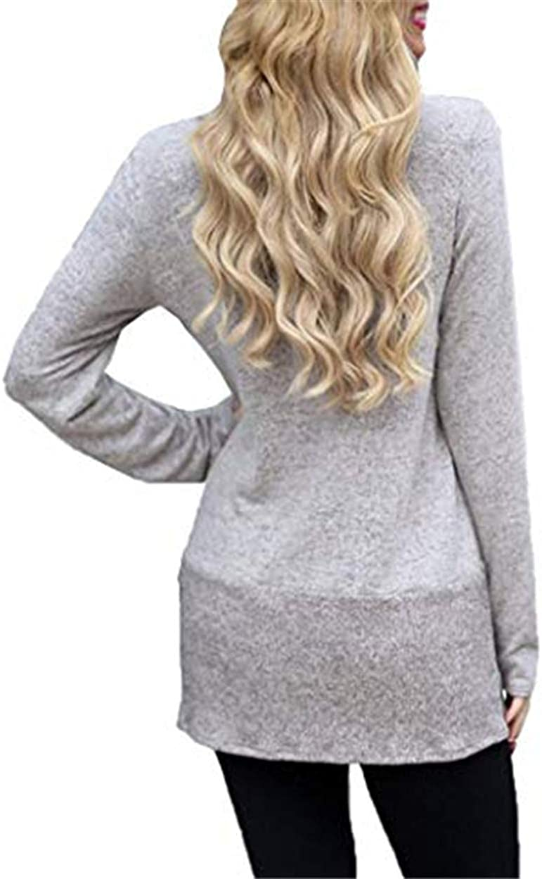 Womens Turtleneck Sweaters Cowl Neck Long Sleeve Split Knit Pullover Blouse Solid Loose Fit Tops Causal Shirts