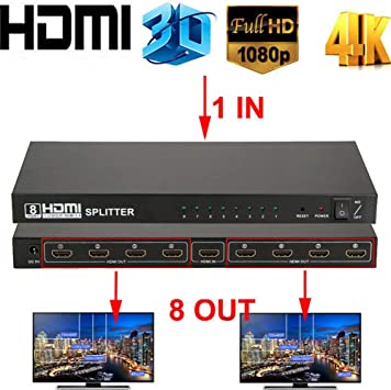 Ultra HD 1x8 4K 3D 1080p HDMI Splitter 1 In 8 Out for Multiple Display