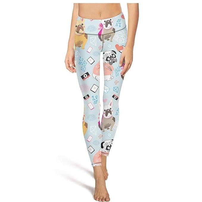 fa41b4501 Jufdds Cute Cartoon Bulldogs Lover Bule Womens Girl High Waist Yoga Pants  Sweat-Wicking Leggins