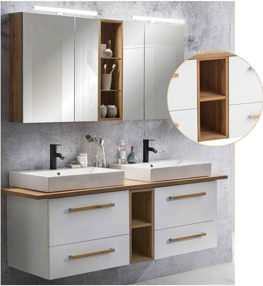 Lomadox Badm/öbel Set 2 Keramik-AufsatzWaschbecken 2 LED-Spiegelschr/änke mit Regal 165cm Waschtischunterschrank mit Regal wei/ß mit Eiche Landhaus