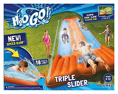 Outdoor Water Play (New Inflatable Water Slide Triple Pool Kids Park Backyard Play Fun Outdoor Splash Slip N Slide)