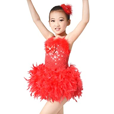 7dd0e378a1e3 Amazon.com  MiDee Feather Tutu Dress for Girls Sequins Camisole with ...
