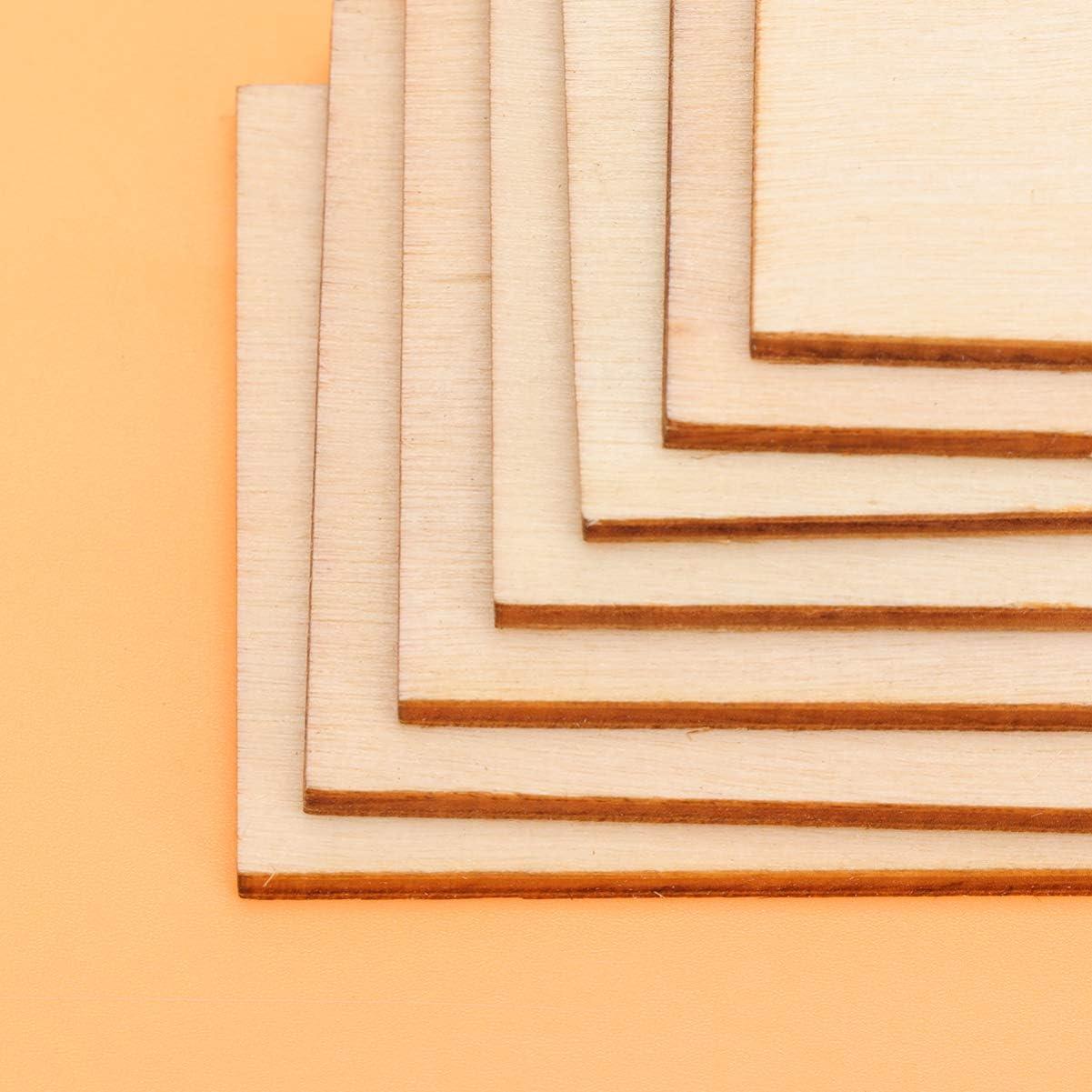 Healifty piezas de madera sin terminar placas de madera rectangulares signos discos de madera sin terminar recortes de madera para adornos manualidades bricolaje 36 piezas 12.7x12.7cm