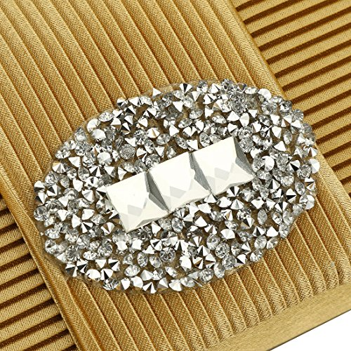 Clutch Handbag for Evening Crystal Pleated Ladies Purse Wedding Evening Women UNYU Formal Silver Satin Designer Bags 87qApPwBn