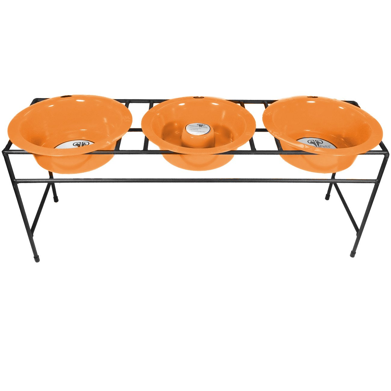 Hunter orange Large Hunter orange Large Platinum Pets Slow Eating Triple Modern Raised Feeder, Hunter orange, Large