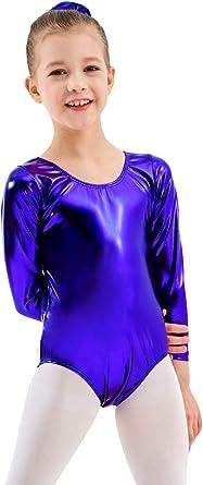 Girl Kid Glossy Leotards for Ballet Gymnastics Metallic Bodysuit Dancewear 5-14Y