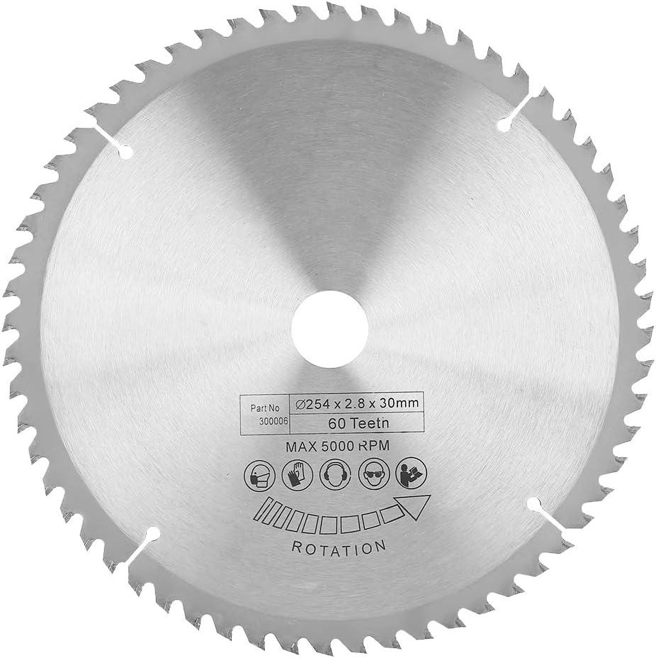 madera 254 * 30 mm Disco de corte de carburo-Disco de corte circular TCT de carburo para metal pl/ástico 60 dientes