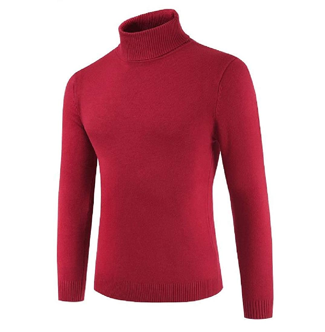 YUNY Mens Fall Winter Knit Stretch Mock Neck Solid Pullover Top Blouse Red S