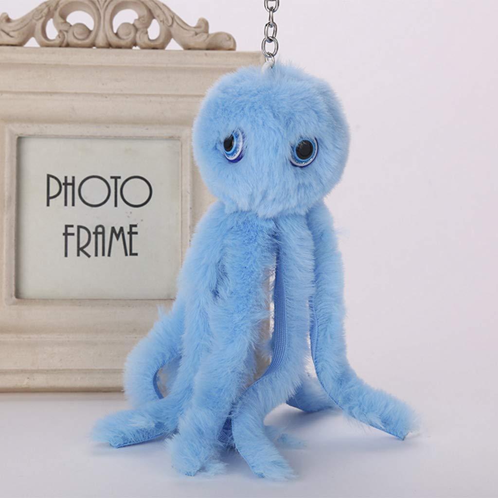 Dabixx Key Ring Octopus Keychain Pompom Fluffy Bag Jewelry Decoration Pendant Beige